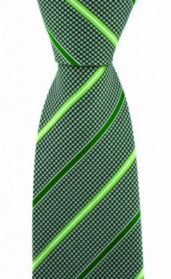 Luxury Green Dogtooth Silk Tie with Mint and Lime Stripe by Soprano